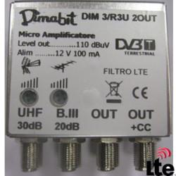 DIMABIT AMPLIF.1UHF 30DB+1BIII 20DB REG. 2OUT LTE