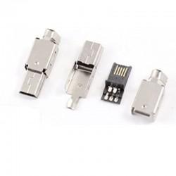 CONNETTORE MINI USB A 5PIN IN METALLO CON COVER