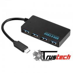 HUB TYPE-C 4 PORTE USB 3.0 5GBPS CAVO 10CM. - HUB3